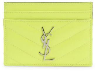Saint Laurent Monogram Matelasse Neon Leather Card Case