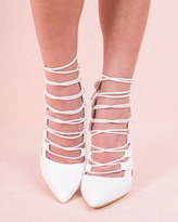 Missy Empire Agata White Lace Up Heels