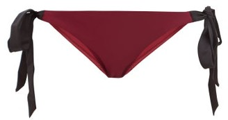 Casa Raki - Cindy Side-tie Bikini Briefs - Womens - Burgundy Multi