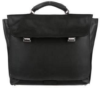 Calvin Klein Collection Silver-Tone Leather Briefcase