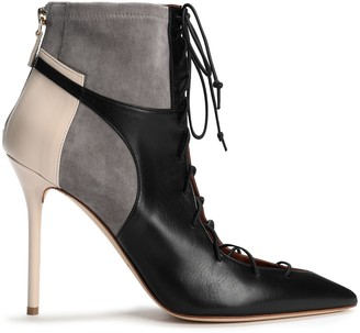 Malone Souliers Montana Lace-up Suede-paneled Color-block Leather Ankle Boots