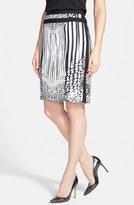 Rachel Roy Print Silk Pencil Skirt