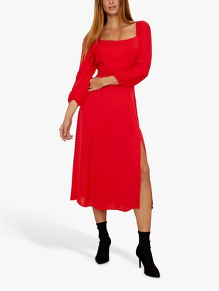 Sosandar Split Detail Dress, Red