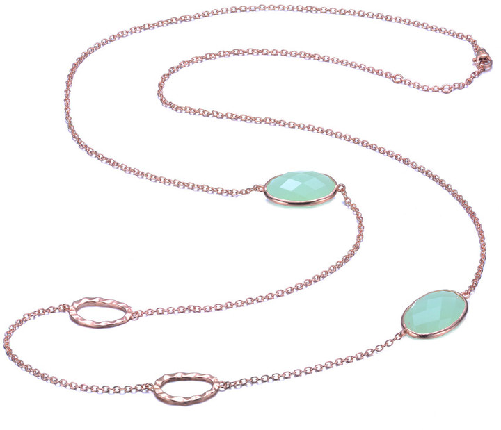 Genevive 18K Rose Gold Over Silver Green Cz 30In Necklace