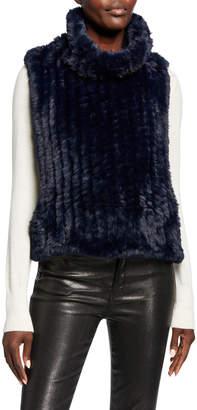 Neiman Marcus Faux-Fur Sleeveless Pullover