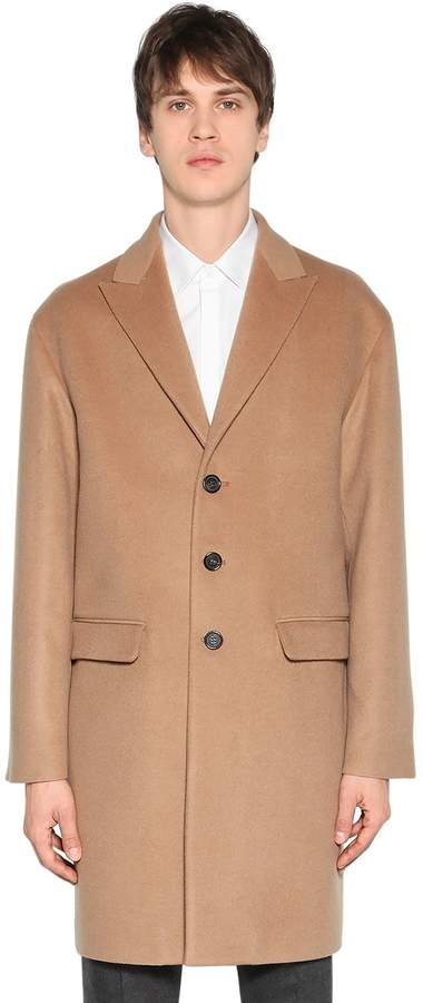 DSQUARED2 Single Breasted Wool & Camel Blend Coat