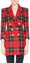 Balmain Tartan Double-Breasted Minidress, Red/Black