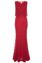 Quiz Red Sequin Lace Double Layer Fishtail Maxi