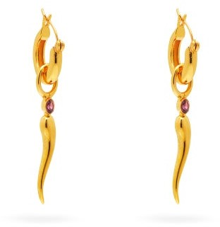 Lizzie Fortunato Cornetto Rhodolite & Gold-plated Hoop Earrings - Gold