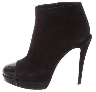 Chanel Suede Cap-Toe Ankle Boots