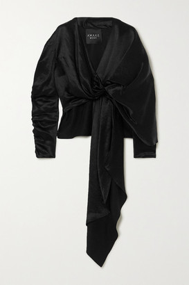 A.W.A.K.E. Mode Reversible Draped Hammered-satin Top - Black