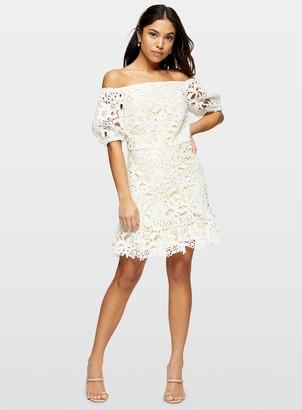 Miss Selfridge PETITE White Lace Bardot Mini Dress