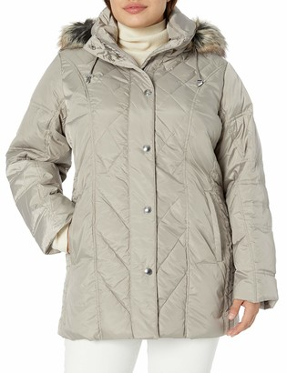 London Fog Women's Plus Size Diamond Quilted Down Coat