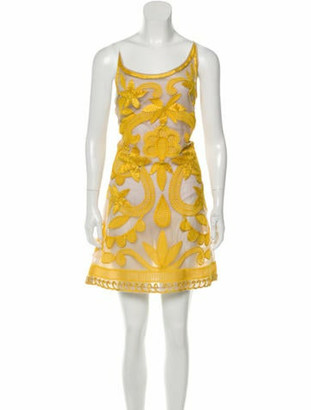 Dennis Basso Halter Mini Dress Yellow