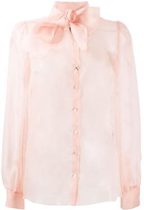 Dolce & Gabbana Sheer Pussy-Bow Shirt