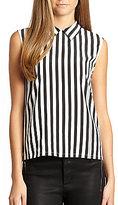 Thumbnail for your product : Equipment Elliot Silk Striped Sleeveless Shirt