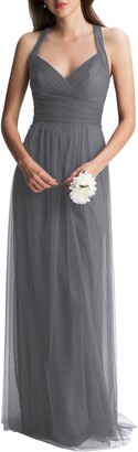 #Levkoff Crisscross Strap Tulle A-Line Gown