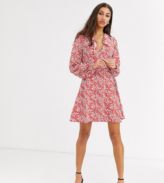 Glamorous Tall wrap dress in vintage floral-Red
