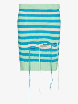 Charles Jeffrey Loverboy Blue Slash Striped Mini Skirt