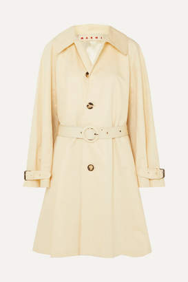 Marni Belted Cotton And Linen-blend Canvas Coat - White