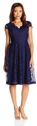 London Times Women's Petite Cap Sleeve V Neck Lace Fit & Flare Dress