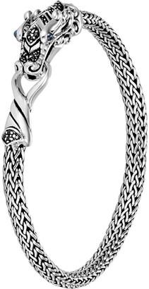 John Hardy Legends Naga 5mm Silver Bracelet w/ Blue Sapphire Eyes