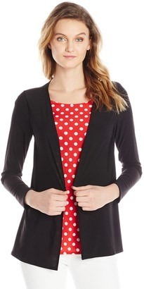 Star Vixen Women's Print Jacket Twofer with Solid Inset and Necklace