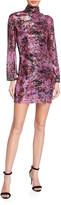 One33 Social Floral Sequin Mock Turtleneck Long-Sleeve Mini Dress