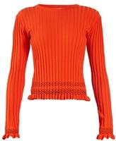 Altuzarra Malou Ruffled-cuff Ribbed-knit Sweater - Womens - Orange