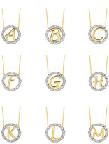 KC Designs 14k Yellow Gold Diamond Initial Necklace