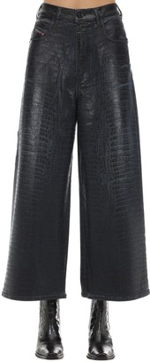 Diesel D-luite Croc Coated Denim Wide Leg Jeans