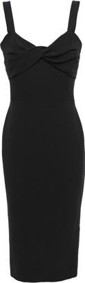 Victoria Beckham Twist-front Silk And Wool-blend Midi Dress