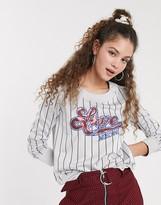 Love Moschino baseball stripe logo sweatshirt