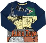 Little Marc Jacobs Aliens Patchwork Cotton Jersey T-Shirt