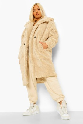 boohoo Petite Teddy Faux Fur Pocket Detail Maxi Coat