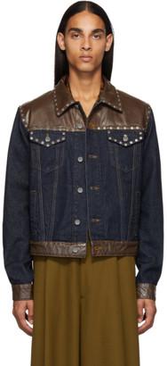 Dries Van Noten Blue and Brown Denim Jacket