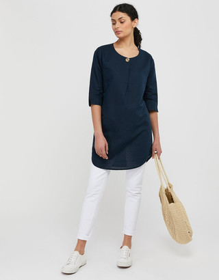 Under Armour Scarlet Organic Cotton Linen Tunic Dress Blue