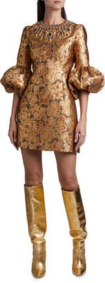 Andrew Gn Brocade Balloon-Sleeve Dress
