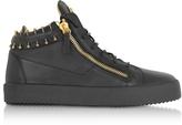 Giuseppe Zanotti Black Leather Mid-Top Men's Sneakers w/Golden Metal Piercings