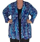 Fashion Fulfillment Boho Kimono Cardigan, Blue Navy Bohemian Jacket, 1x 2x Women's Plus Size Clothes