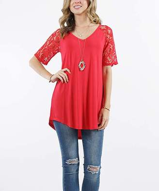 Lydiane Women's Tunics RUBY - Ruby V-Neck Lace-Sleeve Curved-Hem Tunic - Women