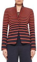 Akris Punto Graphic-Striped One-Button Jacket, Navy/Rust