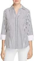 Foxcroft Contrast Cuff Stripe Shirt