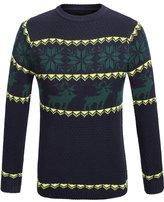 SSLR Men's Crewneck Patterned Long Sleeve Sweater