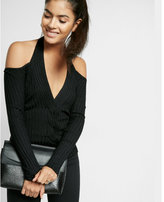 Express off the shoulder cable cut-out pullover