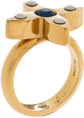 Louis Vuitton Love Letter Crystal Gold Tone Ring S