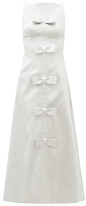 Emilia Wickstead Greta Bow-embellished Textured-lame Midi Dress - Silver