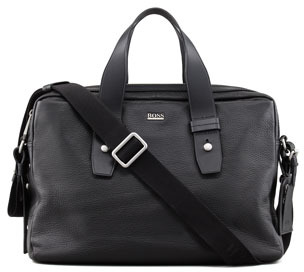 HUGO BOSS Pebbled Leather Briefcase, Black