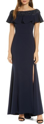 Vince Camuto Ruffle Off the Shoulder Gown