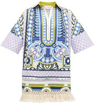 La DoubleJ Honolulu Ittica-print Cotton-poplin Kaftan Dress - Blue Print